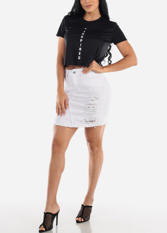 Image of Distressed White Denim Mini Skirt