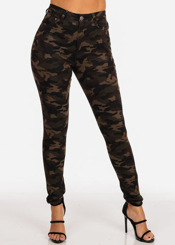 High Waisted 1 Button Stretchy High Waisted Camouflage Print Skinny Jeans