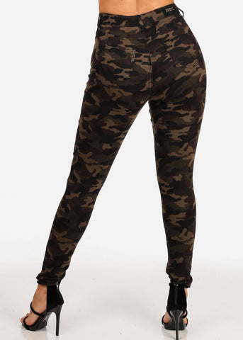 Image of High Waisted 1 Button Stretchy High Waisted Camouflage Print Skinny Jeans