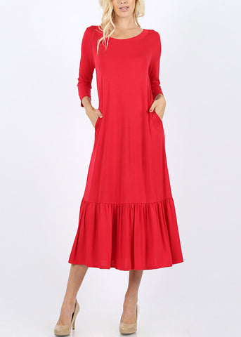 Ruffle Hem Ruby Maxi Dress
