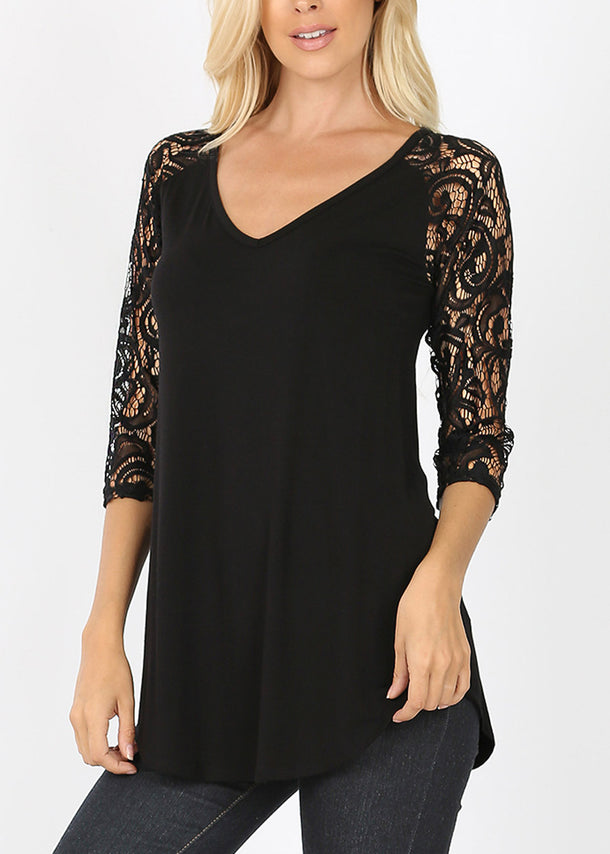 Floral Lace Sleeve Black Blouse