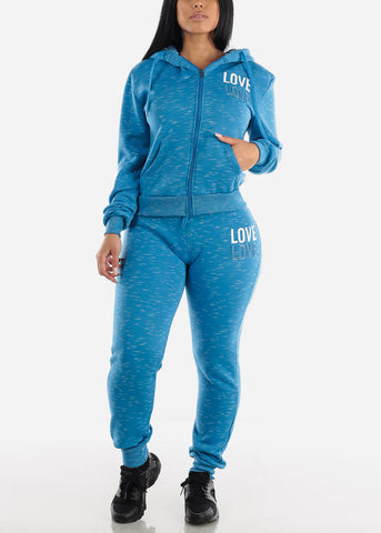 Image of Light Blue Zip Up Hoodie & Jogger Sweatpants (2 PCE SET)