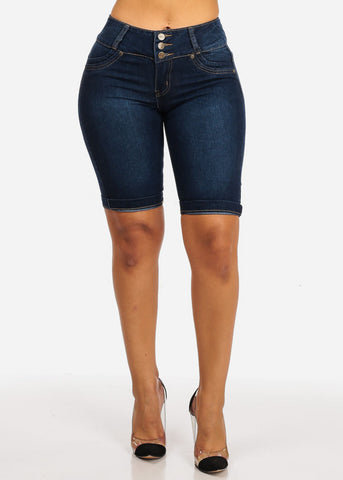 Butt Liftting Cuffed Hem High Waisted Plain Bermuda Shorts Jeans Pockets Back 3 Buttons
