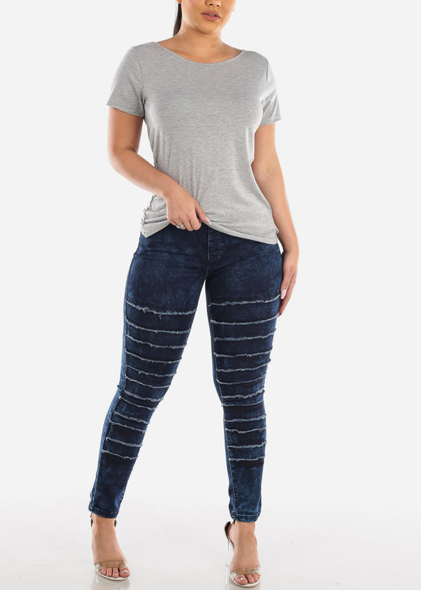 Trendy Pull On Dark Acid Wash Jeans at Discount Prices