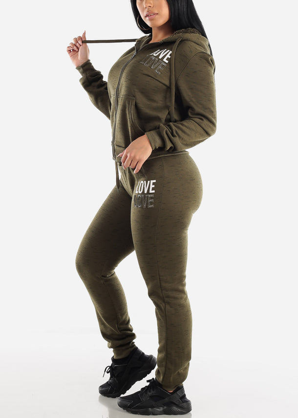 Olive Zip Up Hoodie & Jogger Sweatpants (2 PCE SET)