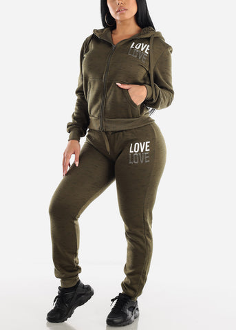 Image of Olive Zip Up Hoodie & Jogger Sweatpants (2 PCE SET)