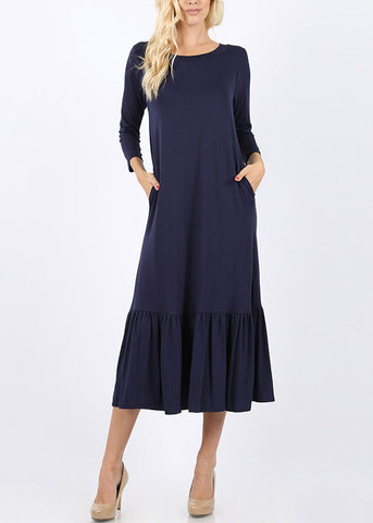 Ruffle Hem Navy Maxi Dress