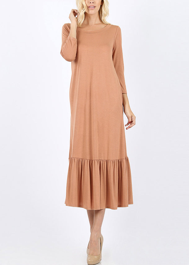 Ruffle Hem Camel Maxi Dress