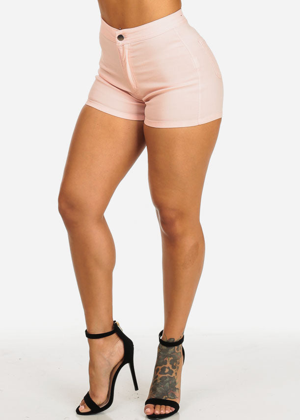 Discount Blush Zip Up Stretchy Shorts