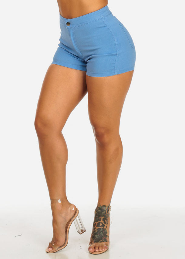 Blue Zip Up Stretchy Shorts