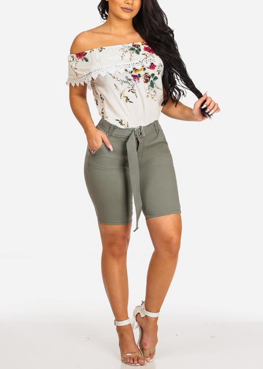 Affordable Olive Mid Rise Bermuda Shorts