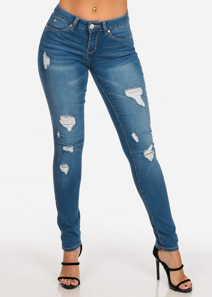 Women's Junior Ladies 1 Button Low Rise Distressed Med Wash Skinny Jeans