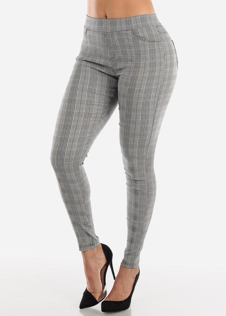 Pull On Black Plaid Skinny Pants