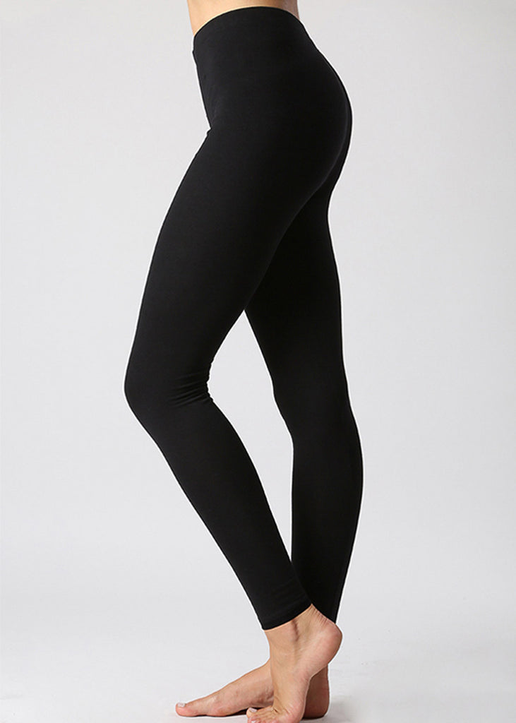 High Rise Cotton Black Leggings