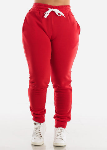 Image of Fleece Red Hoodie & Jogger Sweatpants (2 PCE SET)