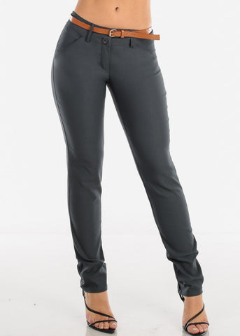 Charcoal Dressy Pants With Belt
