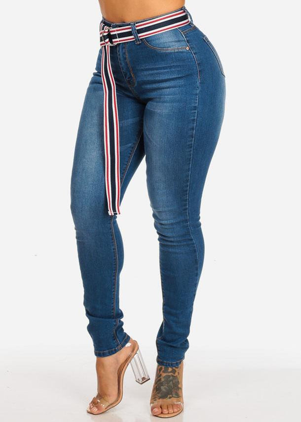 High Waisted Stripe Belt Med Wash Skinny Jeans