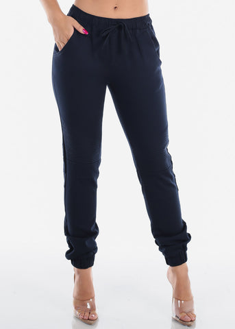 Image of Navy Moto Style Joggers Pants