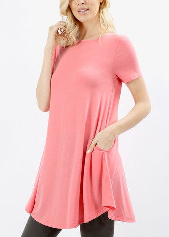 Round Hem Flared Pink Tunic Top