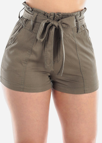 Image of Women's Junior Ladies High Waisted Paperbag Olive Stretchy Shorts For Summer Vacation Beach 2019 New