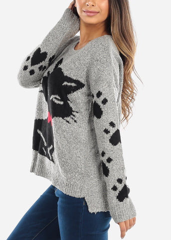 Image of Black Cat Grey Knit Sweater