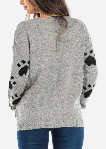 Black Cat Grey Knit Sweater