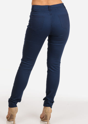 Women's Junior Ladies Sexy Casual Stretchy 1 Button Solid Navy Skinny Jeans