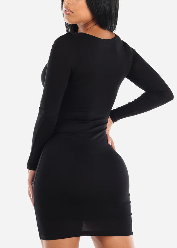 Long Sleeve Black Midi Dress