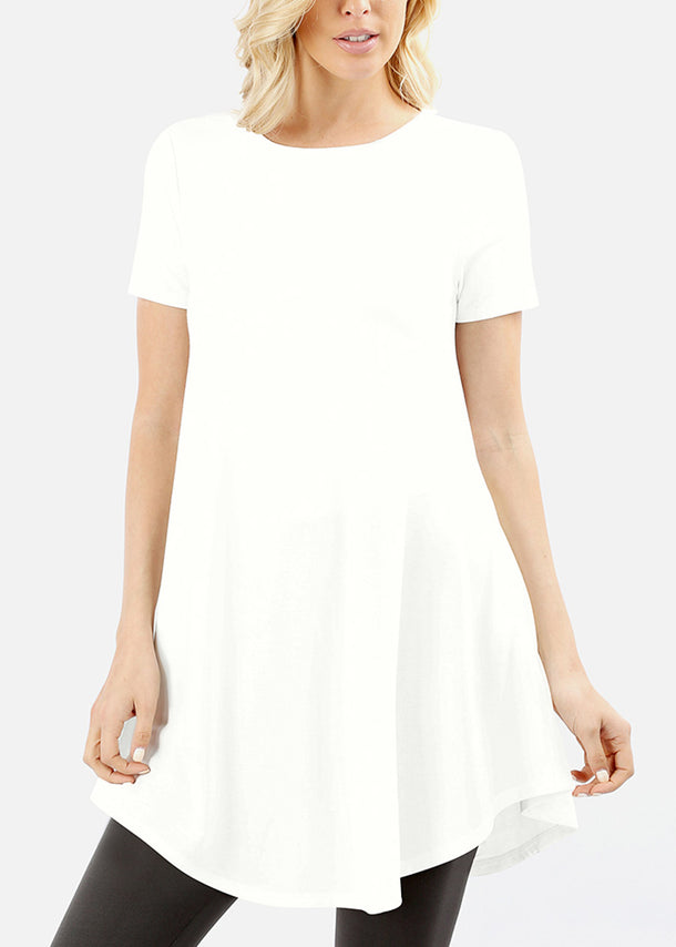 Round Hem Flared Ivory Tunic Top