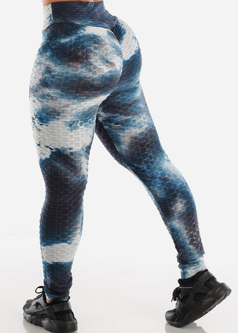 Image of Anti Cellulite Tie Dye Blue Sports Bra & Leggings  (2 PCE SET)
