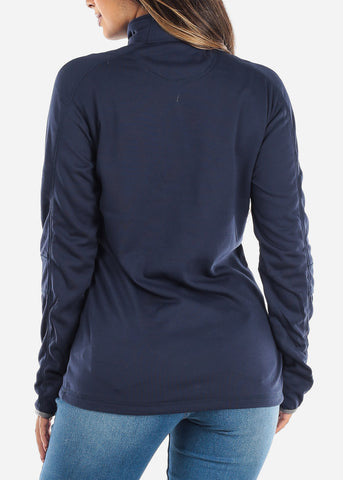 Image of Half Zip Navy Pullover Sweater