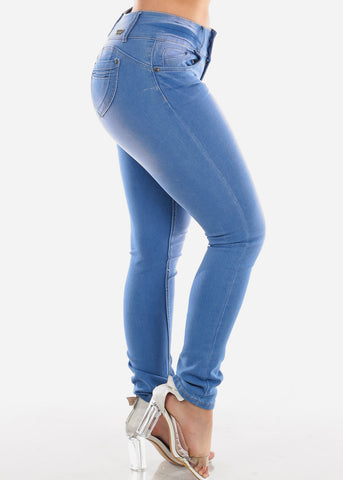 Sexy Butt Lifting Levanta Cola 3 Button Med Wash Mid Rise Skinny Jeans For Women Ladies Junior