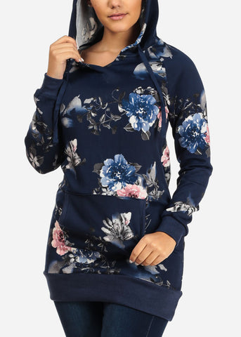 Image of Stylish Long Sleeve Navy Floral Print Kangaroo Pocket Tunic Top W Hood