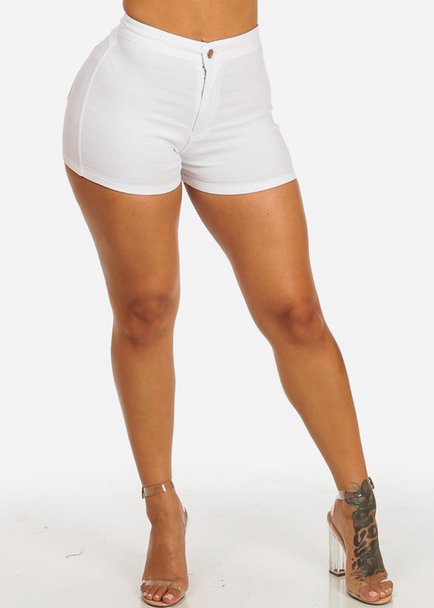 White Zip Up Stretchy Shorts