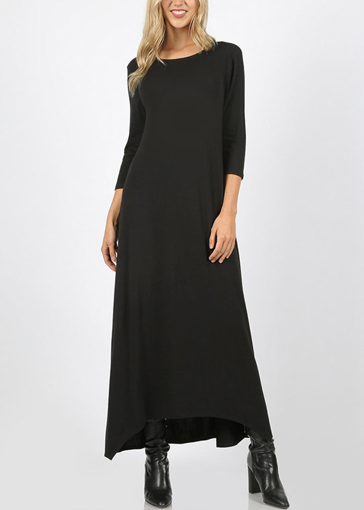 Asymmetrical Hem Black Maxi Dress