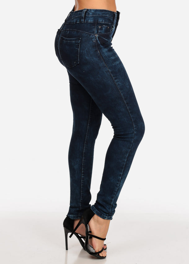 Butt Lifting Dark Marble Wash Skinny Jeans
