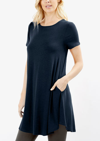 Round Hem Flared Navy Tunic Top