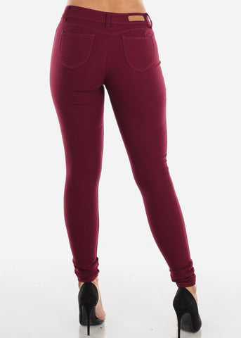 Burgundy Butt Lifting Skinny Pants