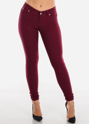 Butt Lifting Burgundy Skinny Jeans