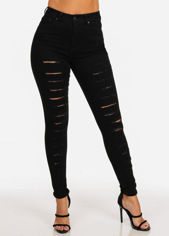 Image of High Waisted 1 Button Stretchy High Waisted Distressed Solid Black Skinny Jeans