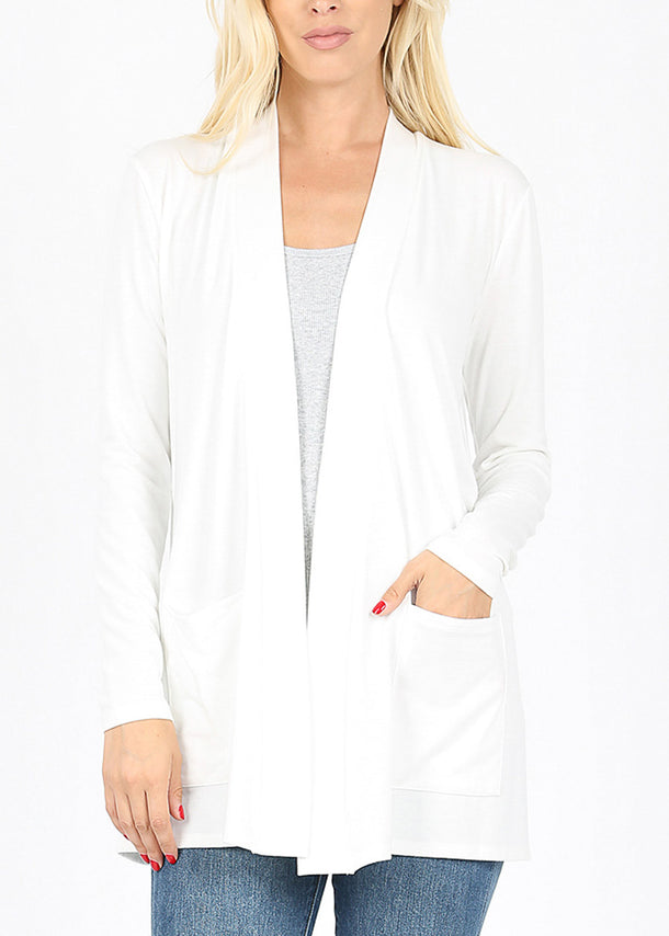Slouchy Pockets White Cardigan
