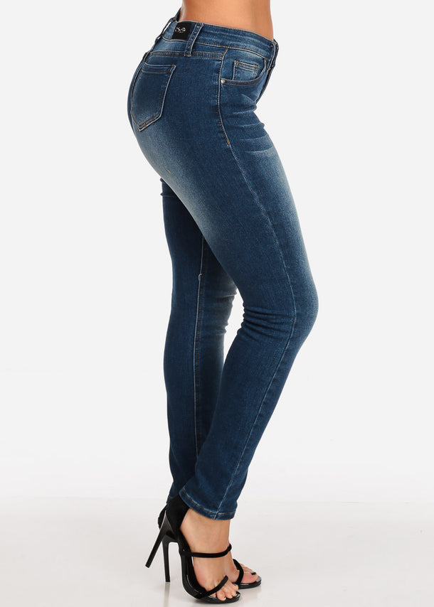 Low Rise Dark Wash Blue Skinny Jeans