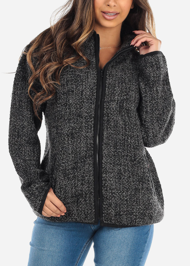 Zip Up Knit Black Sweater