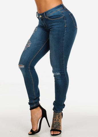 Low Waist Brown Stitching Jeans