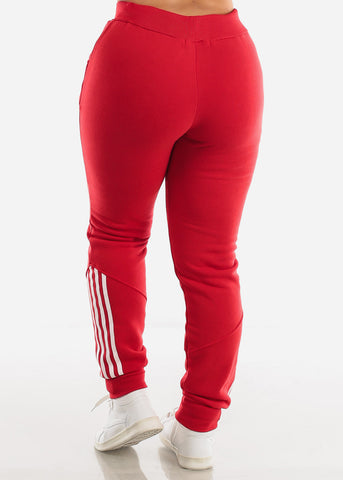 Image of Red Fleece Full Zip Up Hoodie & Jogger Sweatpants ( 2 PCE SET)