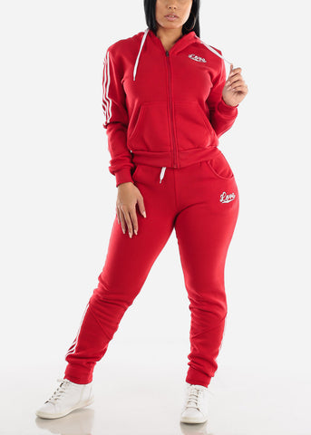 Red Fleece Full Zip Up Hoodie & Jogger Sweatpants ( 2 PCE SET)