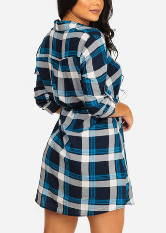 Trendy Button Up Lightweight Blue Plaid Print Lightweight Mini Dress W Tie Belt