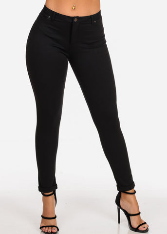 Women's Junior Ladies Going Out Mid Rise 1 Button Solid Black Skinny Pants