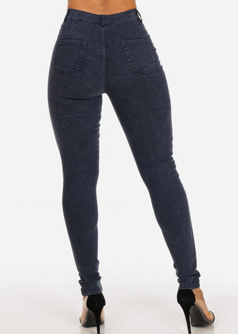 Sexy High Waisted Going Out Casual Super Stretchy Navy Skinny Jegging Pants