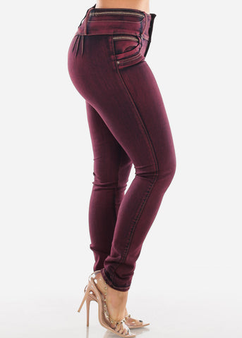 Butt Lifting Burgundy Acid Wash Skinny Jeans